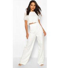 geweven kanten top en pantalons set, wit