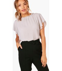 woven frill sleeve and neck blouse, light grey
