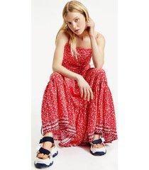 tommy hilfiger women's floral maxi dress floral print / deep crimson - xs