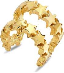sterling forever women's 14k gold vermeil & sterling silver multi-star ear cuff