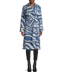 caban zebra-print trench coat