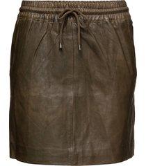 skirt with smock waist kort kjol grön depeche