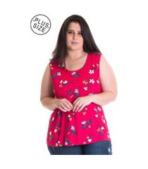 regata feminina plus size viscose estampada 41217