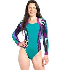 traje de baño enterito deportivo manga larga estampado morado samia
