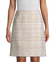 lafayette 148 new york women's artful tweed whitley skirt - gesso - size 10