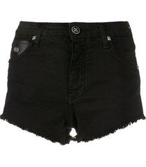 john richmond faux leather patch shorts - black