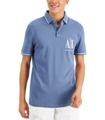 ax armani exchange men's regular-fit logo embroidered pique polo shirt