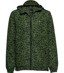 geo print zip through hooded jacket tunn jacka grön lyle & scott