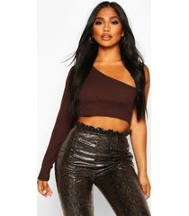 one shoulder rib basic crop top, chocolate