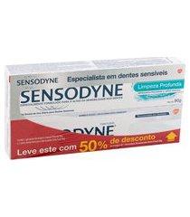creme dental sensodyne branqueador +50% free creme dental limpeza profunda 90g