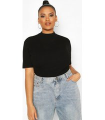 plus soft knit sweater top, black