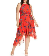 plus size women's cece watercolor floral halter neck asymmetrical hem dress