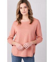 fijngebreide trui met ronde zoom van katoenmelange