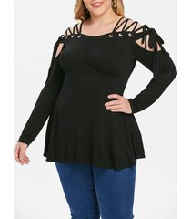 plus size cold shoulder lace up empire waist t-shirt