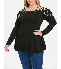 plus size cold shoulder lace up empire waist t-shirt