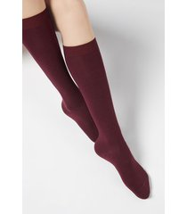 calzedonia long socks in cotton with cashmere woman burgundy size 39-41