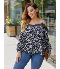 blusa de manga larga de encaje con tirantes finos y estampado floral de talla grande