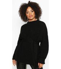 plus grote gebreide trui met ceintuur, zwart