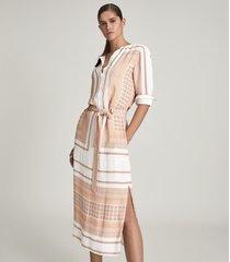 reiss harper - scarf print midi dress in nude, womens, size 14