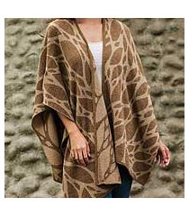 reversible alpaca blend ruana cape, 'coffee leaf' (peru)