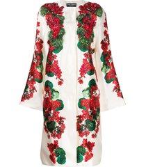 dolce & gabbana floral print beaded coat - white