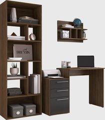 conjunto de escritório 08 escrivaninha/livreiro/prateleira preto/nogueira modern office e estilare móveis - tricae