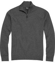 jos. a. bank traveler men's charcoal modern fit 1/4 zip pima cotton sweater - size: xl