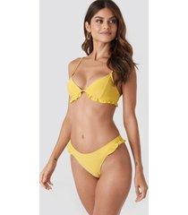 paulinye x na-kd frill detail bikini bottom - yellow