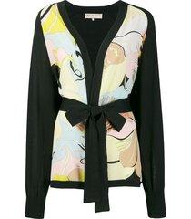 emilio pucci floral panel belted cardigan - black