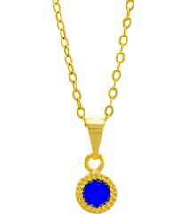gargantilha horus import ponto luz redondo azul zafira banhada ouro amarelo 18 k - 1061109