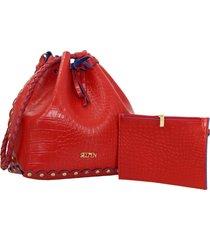 bolsa selten saco ilhós com necessaire vermelha - kanui
