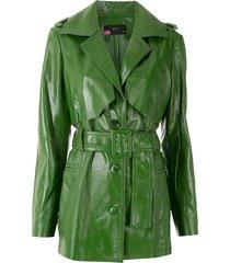 eva belted waist trench coat - green