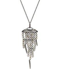 alexis bittar women's goldplated faux pearl & spike tassel pendant necklace
