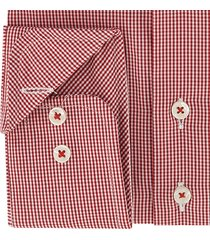 sleeve7 heren overhemd rood allover ruitjes poplin modern fit