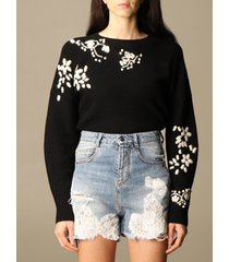 ermanno scervino sweater ermanno scervino pullover in cotton with floral embroidery