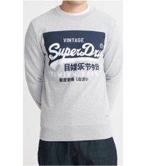superdry men's organic cotton vintage-like logo sweatshirt