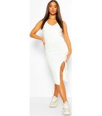 geribbelde gebreide midi jurk met zijsplit, ivory
