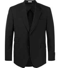 alexander mcqueen pinstripe panelled suit jacket - black