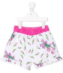 monnalisa floral print ruffled hem shorts - white