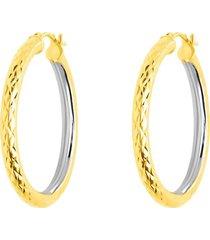 orecchini a cerchio bicolore oro bianco e oro giallo diamantati per donna