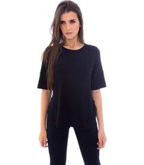 blusa moda vicio com abertura na lateral preto