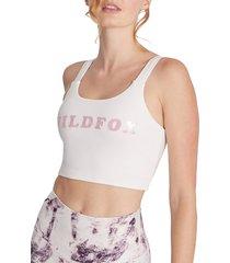 wildfox women's ladder-back logo bra - white - size s