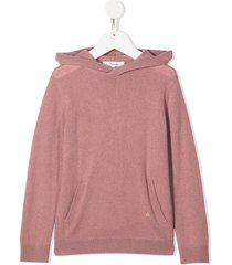 bonpoint pouch-pocket hooded jumper - pink