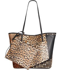 sondra roberts animal patchwork tote with wristlet