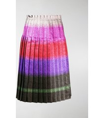 marco de vincenzo pleated lurex stripe skirt
