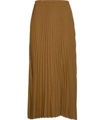 slfalexis mw midi skirt b knälång kjol brun selected femme