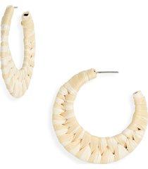 women's bp. rattan wrapped hoop earrings