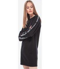 vestido negro calvin klein instit track logo dress
