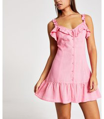 river island womens pink frill button front mini beach dress