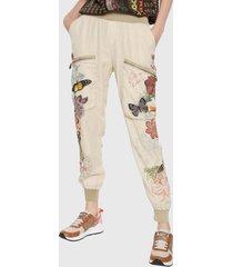pantalón blanco hueso-multicolor desigual